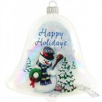 Happy Holidays Snowman Bell Ornament