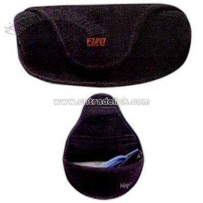 Hard polyester sunglass case with velcro closure