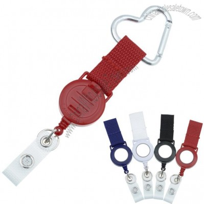 Heart Carabiner Retractable Badger Holder with Wire Cord