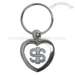 Heart Key Chain of Bling Diamond Dollar Sign