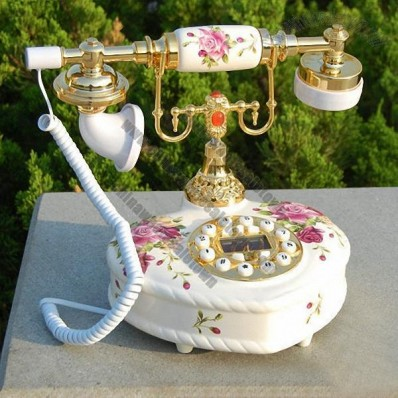 Heart Shaped Antique Telephone with Flower Decoration
