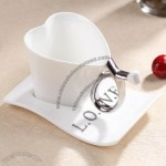 Heart Shaped Ceramics Coffee Cup Set