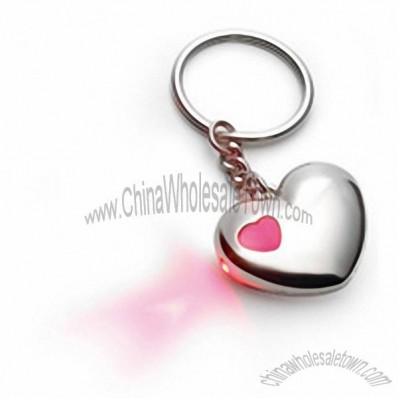 Heart Shaped Key Chain with Red LED Light