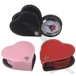 Heart-Shaped Leather Travel Alarm Clock