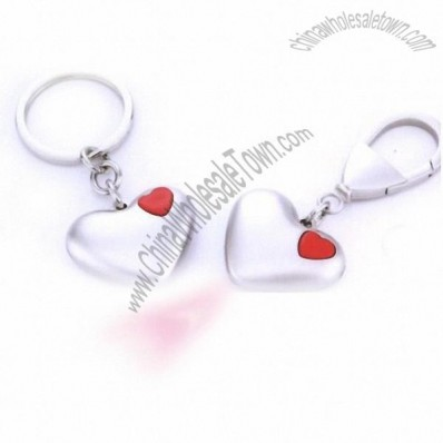 Heart Shaped Metal Keychain with LED Light