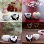 Heart Shaped Tuxedo and Gown Placecard Holder