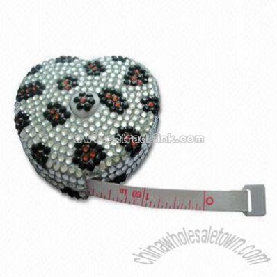 Heart shape Measuring Tape with Rhinestones and Keychain