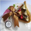 Heart shaped chocolate pvc packing box with golden Ribbon