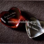 Heart shaped crystal paperweights