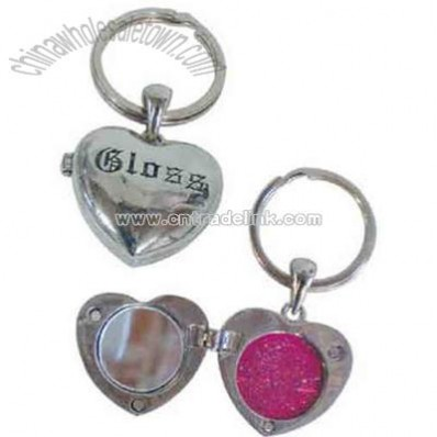 Heart shaped lip gloss with mirror on keychain
