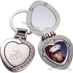 Heart shaped picture frame and compact mirror key chain