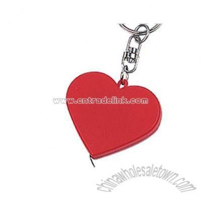 Heart shaped steel tape measure with key chain