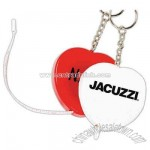 Heart tape measure with release button and key tag