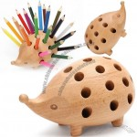 Hedgehog Wooden Pen Holder, Pencil Organizer