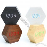 Hexagon Voice Control Calendar Thermometer Wood Wooden LED Digital Alarm Clock