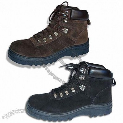 Hiking Boots/Work Shoes with Cow Suede Upper and TPR Injection Outsole