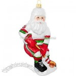 Hockey Santa Glass Ornament
