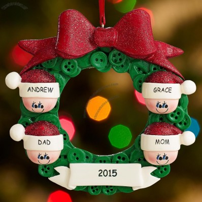Holiday Wreath Family Ornament