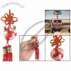 Home Car Gold Tone Small Bells Decor Red Chinese Knot Hanger