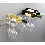 Home Chrome Wine Bottle & Glasses Holder. Holds 16 Bottles and 15 Wine Glasses