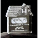 House W/ Dormer Window Acrylic Paperweight (Up To 12 Square Inch)