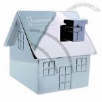 House shaped paperweight with magnetic paper clip holder