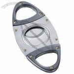 Hudson Satin Silver and Gun Metal Guillotine Cigar Cutter