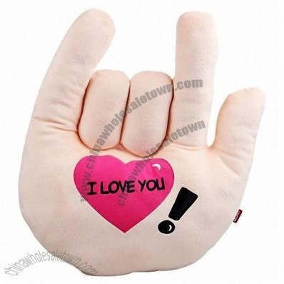 I LOVE YOU Hand Palm Shaped Throw Pillow