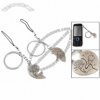 I Love You Heart Lock w Key Metal Keyring Keychain Pair for Lovers