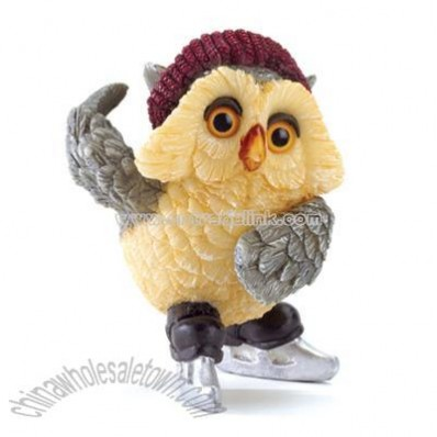 Ice Skating Owl Figurine