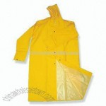 Industrial Long Raincoat with Attached Hood