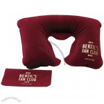 Inflatable Car Neck Pillow W/ Velour Type Finish