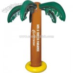 Inflatable brown palm tree with green leaves