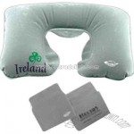 Inflatable contoured travel neck rest pillow