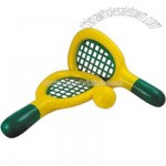 Inflatable yellow tennis racket game with green trim and vinyl ball.
