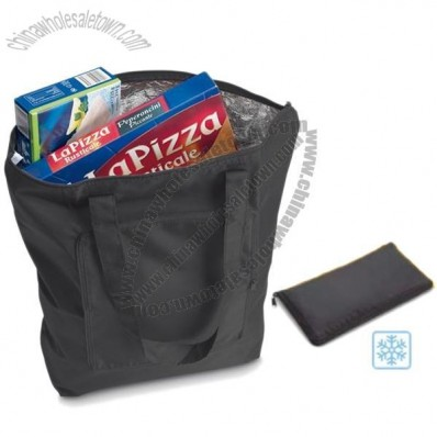 Insulated Reusable Folding Shopper In Zip Wallet