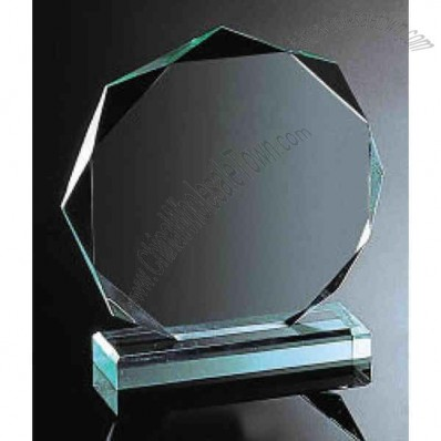 Jade octagon shape acrylic award with faceted edges and standard base