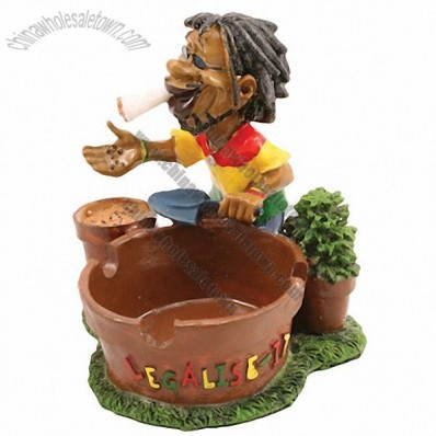 Jamaican Man Ashtray Pot With Plant