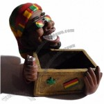 Jamaican Man Ashtray with Lighter and Box