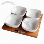 Japanese Style Bowls/Ceramic Snack Set with Bamboo Tray