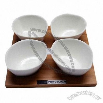 Japanese Style Bowls Set with Bamboo Tray