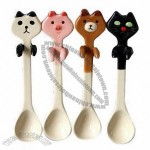 Japanese-Style Lovely Ceramic Hanging Dessert Spoon With Animal Design For Children