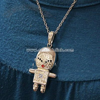 Jewel Spaceman Necklace USB Flash Drive