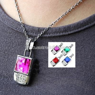 Jewel Square Necklace USB Flash Drive