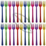 Jewel Tone Plastic Cocktail Forks