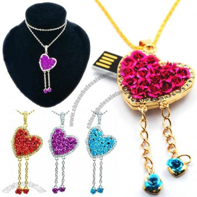 Jewelry Rose Heart Shaped Necklace USB Flash Drives