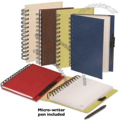 Journal Book With Natural Flax Cover And Double Metal Loop Wire Binding
