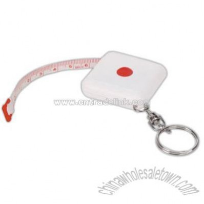 Key chain with cloth tape measure and square plastic case