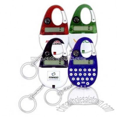 Key chain with flip cover lid calculator and carabiner clip compass