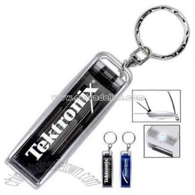Key chain with light and three small fold-out screwdrivers